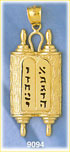 14k gold torah & ten commandments pendant