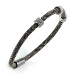sterling silver black rhodium plated and 3 cz station bangle