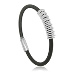 sterling silver black rhodium plated and cz italian bangle