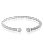 silver rhodium plated and cz italian bangle