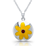 sterling silver rhodium yellow enamel flower necklace
