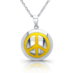 sterling silver yellow enamel peace sign necklace