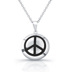 sterling silver w/black enamel peace sign necklace
