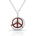 sterling silver round disc w/ red enamel peace necklace