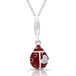 sterling silver red & black enamel lady bug necklace w/cz heart