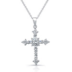 sterling silver rhodium cubic zirconia cross necklace