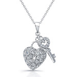 sterling silver rhodium plated cz heart & key necklace