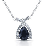 sterling silver rhodium plated cz & black onyx necklace