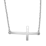 sterling silver rhodium plated polished sideways cross necklace