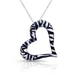 sterling silver floating zebra heart necklace w/black & white enamel