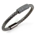sterling silver black rhodium plated and cz braided cable bangle