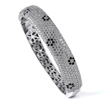 black rhodium plated silver - micro pave cz bangle with safety clasp