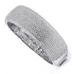 sterling silver with rhodium plated & micro-pave cz bangle