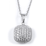 sterling silver rhodium plated micro pave cz accents cushion necklace