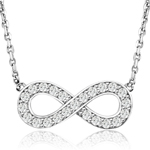sterling silver rhodium plated eternity necklace with cz accents