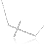 sterling silver rhodium plated sideways cz cross necklace