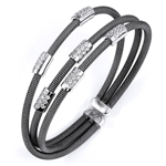 sterling silver black rhodium plated and cz stations three rows bangle