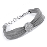 sterling silver rhodium plated and cz bracelet