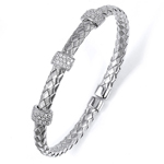silver rhodium plated and cz braided cable bangle