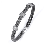 silver black rhodium plated and cz braided cable bangle