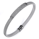 sterling silver rhodium plated and rows of cz bangle