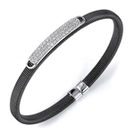 sterling silver black rhodium plated and rows of cz bangle