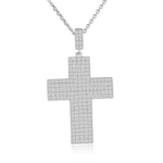 sterling silver rhodium plated large cross necklace cz accents