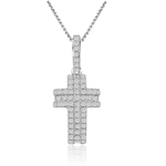 sterling silver w/rhodium plated cross necklace with cz accents