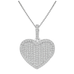 sterling silver rhodium plated micro pave cz heart necklace