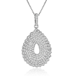 sterling silver rhodium plated pear necklace w/micro pave cz