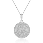 rhodium plated sterling silver round pave cz disc necklace