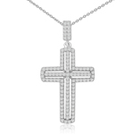 rhodium plated sterling silver cross necklace with cz accents