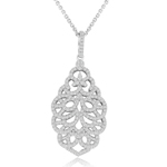 sterling silver rhodium plated cz ornate necklace