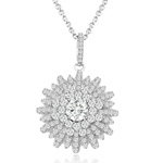 sterling silver rhodium plated cz snowflake necklace