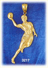 14k gold basketball player charm