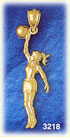 14k gold female basketball player charm