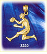 14k gold basketball player dribbling basketball charm