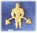 14k gold bodybuilder lifting weights charm