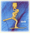 14k gold 3d skiing charm