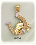 14k tri color gold horse shoe dolphin charm