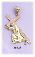 14k tri color gold crucifixion charm