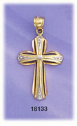 14kt tri color gold cross charm