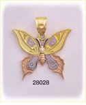 14kt tri color gold butterfly charm