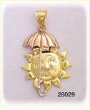 14K Tri Color Gold Sun and Umbrella Charm