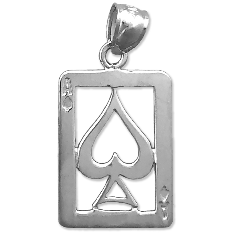 0.3 Ct Natural Diamond Hip Hop Ace Of Spades Queen Heart