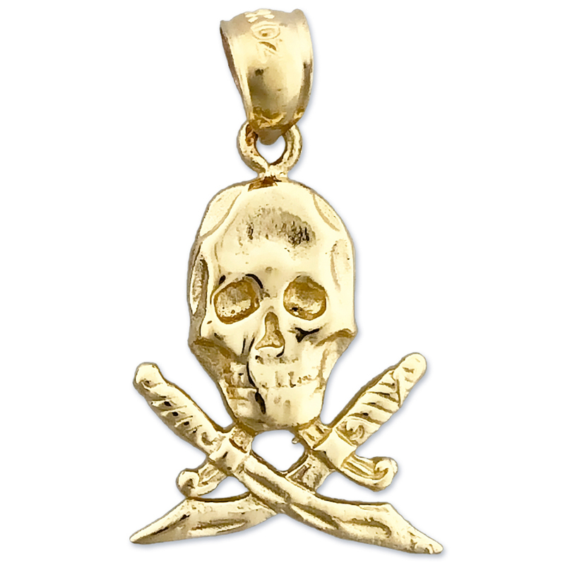 6960499c54b85 14K Gold Pirate Skull and Crossbones Swords Charm