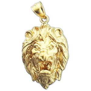 14k Gold Growling Lion Head Charm Pendant
