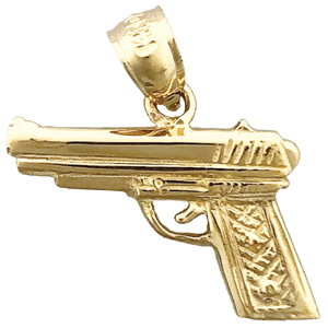 14k gold firearm pistol gun charm