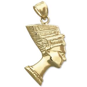 14K Gold Egyptian Queen Nefertiti Charm