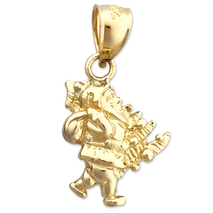 14k gold 3d santa claus and christmas tree charm